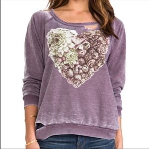 CHASER Succulent Heart Deconstructed Pullover S